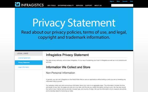 Screenshot of Privacy Page infragistics.com - Infragistics - Privacy Statement - captured Sept. 18, 2014