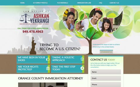 Screenshot of Home Page yeklaw.com - Orange County Immigration Attorney | Law Office of Ashkan Yekrangi - captured Oct. 2, 2014
