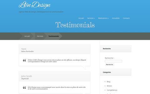 Screenshot of Testimonials Page lkn-design.com - Testimonials - Lk'n Design | Lk'n Design - captured May 13, 2017