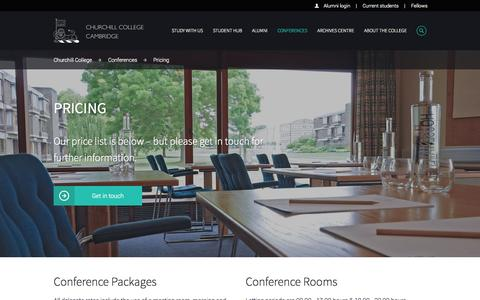 Screenshot of Pricing Page cam.ac.uk - Conference pricing – Churchill College - captured Sept. 18, 2014