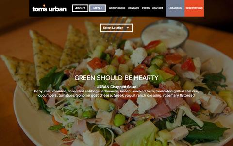 Screenshot of Menu Page tomsurban.com - TOMS URBAN  | Menu - captured April 13, 2016