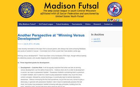 Screenshot of Blog madisonfutsal.com - Madison Futsal Blog - Madison Futsal - captured Feb. 4, 2016