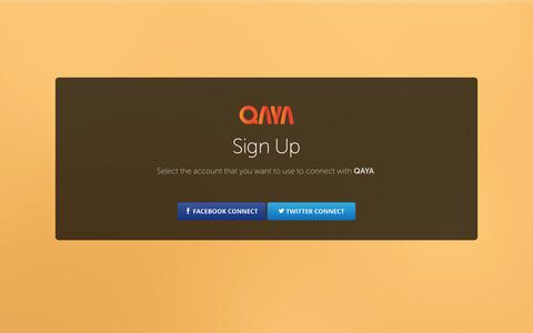 Screenshot of Signup Page qaya.co - QAYA | The Power of Influence - captured Oct. 2, 2014