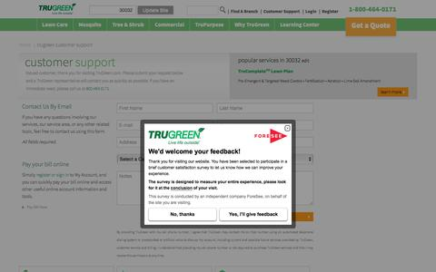 Screenshot of Contact Page trugreen.com - TruGreen Customer Support | TruGreen - captured June 27, 2017