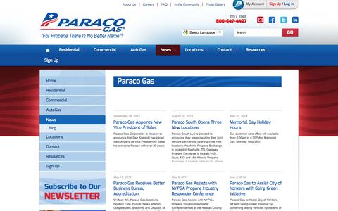 Screenshot of Press Page paracogas.com - Paraco News and Press Releases | Propane Suppliers | Paraco Gas - captured Oct. 10, 2014