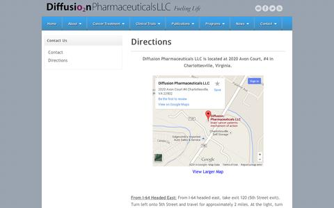 Screenshot of Maps & Directions Page diffusionpharma.com - Directions | Diffusion Pharmaceutical LLCDiffusion Pharmaceutical LLC - captured Sept. 12, 2014