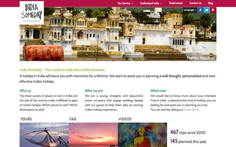 Screenshot of Home Page indiasomeday.com - India Someday | Planning a trip to India | Travel help for India | Personalized India Trip | Personalized travel to India | Personalized India Travel | Budget tour to India - captured Sept. 30, 2014