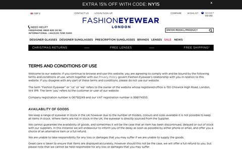 Screenshot of Terms Page fashioneyewear.co.uk - Terms and Conditions - captured Jan. 8, 2016