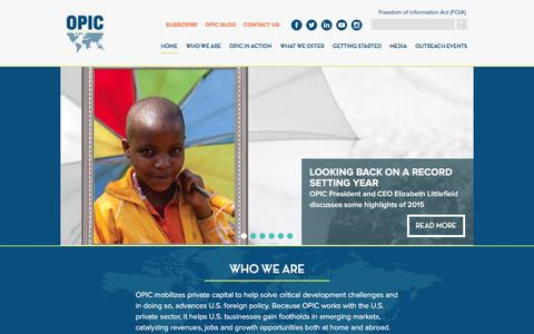 Screenshot of Home Page opic.gov - OPIC : Overseas Private Investment Corporation - captured Jan. 21, 2016