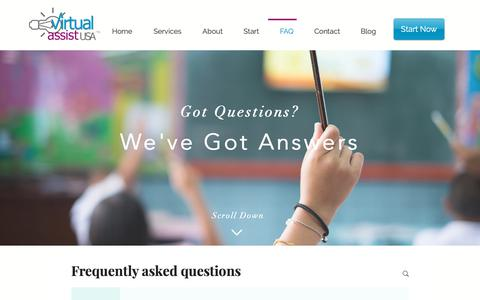 Screenshot of FAQ Page virtualassistusa.com - Questions and Answers about Working with a Virtual Assistant - captured Oct. 20, 2018