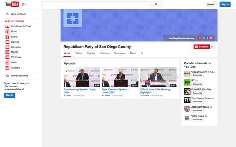 Screenshot of YouTube Page youtube.com - Republican Party of San Diego County  - YouTube - captured Oct. 26, 2014