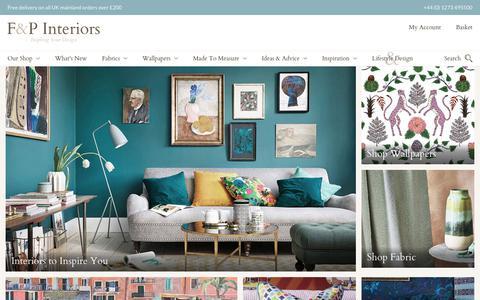 Screenshot of Home Page fabricsandpapers.com - F&P Interiors | Designer fabrics, wallpaper and home accessories online - captured Sept. 23, 2018