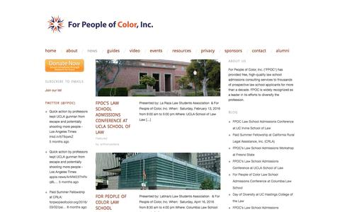 Screenshot of Press Page forpeopleofcolor.org - News | For People of Color, Inc. | Empowering people of color to enter law school and become attorneys. - captured Nov. 25, 2016