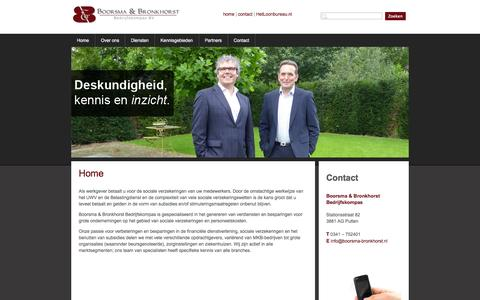 Screenshot of Home Page boorsma-bronkhorst.nl - Boorsma & Bronkhorst Bedrijfskompas BV | Home - captured Oct. 5, 2014