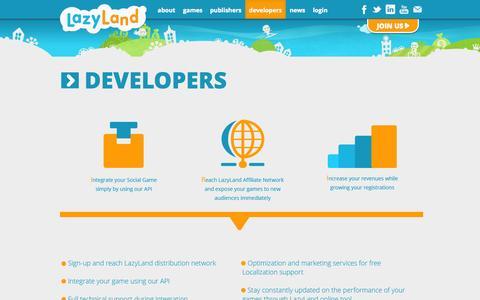 Screenshot of Developers Page lazyland.net - Developers - lazyland.net - captured Sept. 19, 2014