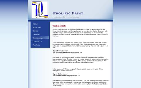 Screenshot of Testimonials Page rogerrussell.org - Prolific Print  - Testimonials - captured Sept. 30, 2017