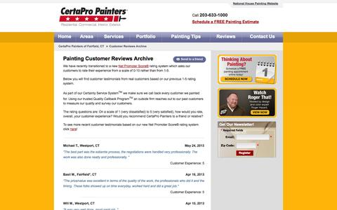 Screenshot of Testimonials Page certapro.com - Fairfield local home painting customer reviews | CertaPro Painters house painting customer reviews in the Fairfield area - captured Sept. 25, 2014