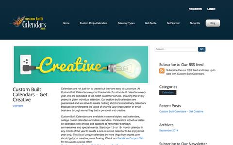 Screenshot of Blog custombuiltcalendars.com - Blog – Custom Built Calendars - captured Oct. 28, 2014