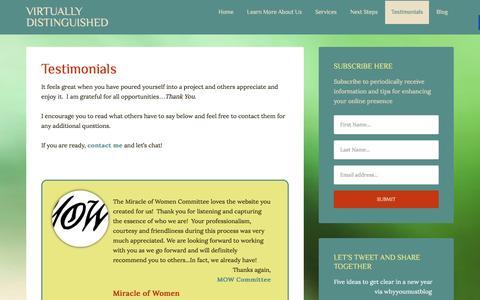 Screenshot of Testimonials Page virtuallydistinguished.com - Testimonials about Michelle Church - captured Jan. 13, 2016