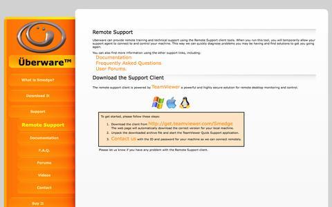 Screenshot of Support Page uberware.net - Uberware Remote Support: Uberware Renderfarm Management Software - captured Feb. 22, 2016
