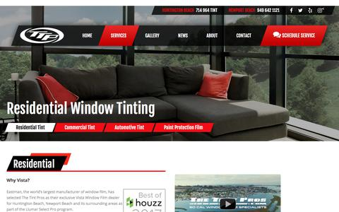 Screenshot of Services Page thetintpros.com - Residential Window Tinting | Window Film | Orange County Residential Tint - captured Sept. 21, 2018