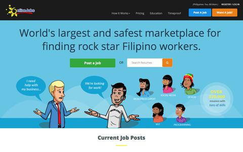 Screenshot of Home Page onlinejobs.ph - Hire the best Filipino employees and virtual assistants the Philippines has to offer! - captured June 20, 2017