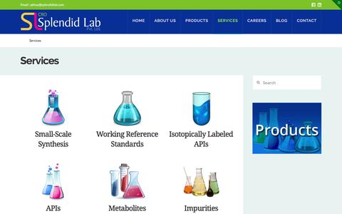 Screenshot of Services Page splendidlab.com - Chemical Synthesis India : Splendid Labs - captured May 9, 2017