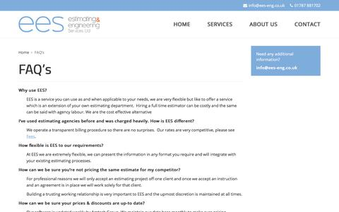 Screenshot of FAQ Page ees-eng.co.uk - FAQ's | Estimating & Engineering Services Ltd - captured July 9, 2017