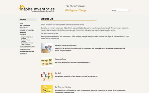 Screenshot of About Page inspireinventories.co.uk - About Us |             Inspire Inventories - captured Sept. 30, 2014