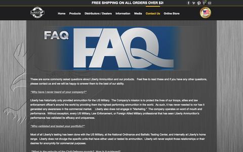 Screenshot of FAQ Page libertyammunition.com - FAQ's - Liberty AmmunitionLiberty Ammunition - captured Sept. 16, 2014