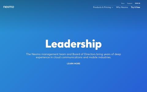 Screenshot of Team Page nexmo.com - Leadership - Nexmo :Nexmo - captured Feb. 12, 2016