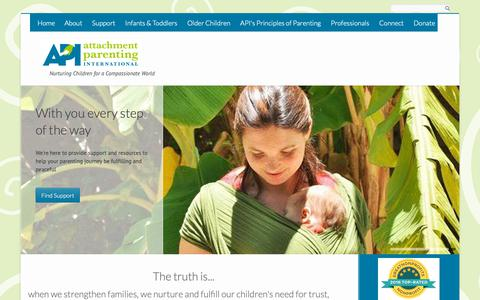 Screenshot of Home Page attachmentparenting.org - Attachment Parenting International | Nurturing Children for a Compassionate World - captured Nov. 13, 2018