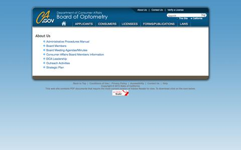 Screenshot of About Page ca.gov - About Us -  Board of Optometry - captured Sept. 13, 2014