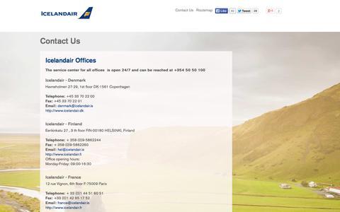 Screenshot of Contact Page icelandair.com - Contact us - captured Sept. 25, 2014