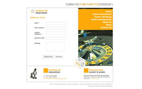 Screenshot of Contact Page casinomarketingdesign.co.uk - Casino Marketing Design - Contact Us - captured Sept. 26, 2014