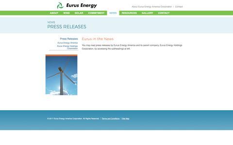Screenshot of Press Page eurusenergy.com - Press Releases | Eurus Energy America - captured Aug. 31, 2017