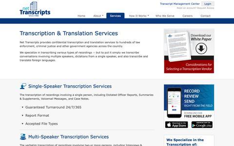 Screenshot of Services Page nettranscripts.com - Net Transcripts   Services - captured Oct. 19, 2018