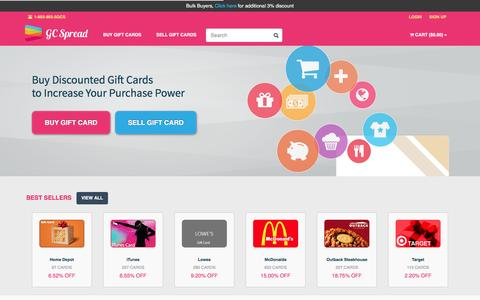 Screenshot of Home Page giftcardspread.com - Buy & Sell Gift Cards Online, Discounted Gift Cards – GC Spread - captured July 13, 2016