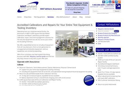 Screenshot of Services Page matsolutions.com - Test Equipment Repair & Calibration Services | MATsolutions - captured Sept. 30, 2014