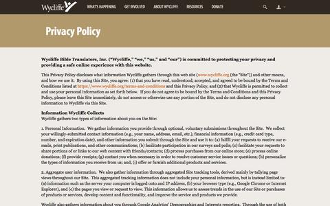 Screenshot of Privacy Page wycliffe.org - Privacy Policy -                 Wycliffe Bible Translators - captured Oct. 26, 2014