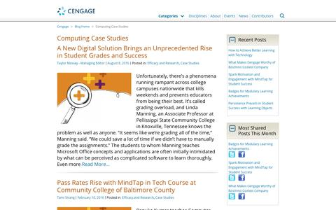 Screenshot of Case Studies Page cengage.com - Computing Case Studies Archives - Cengage Blog - captured Aug. 4, 2017