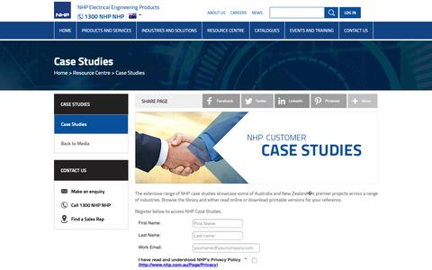 Screenshot of Case Studies Page nhp.com.au - NHP Case Studies - captured March 2, 2019
