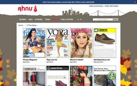 Screenshot of Press Page ahnu.com - Ahnu® PR and News Updates | Ahnu.com - captured Oct. 30, 2014