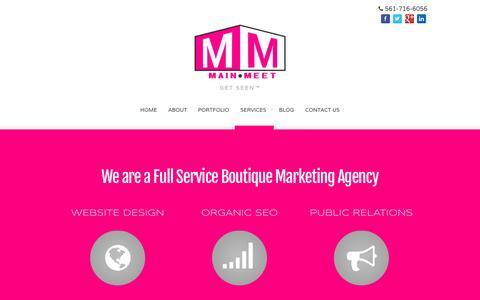 Screenshot of Services Page mainmeet.com - Main Meet -  Services - captured Sept. 30, 2014