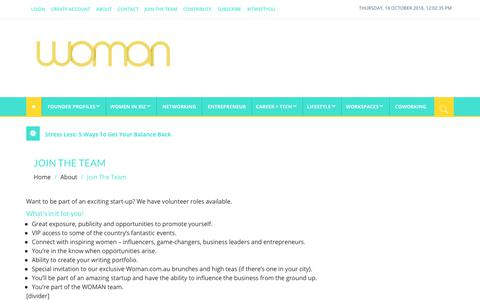 Screenshot of Signup Page woman.com.au - Join The Team - Woman.com.au - captured Oct. 18, 2018