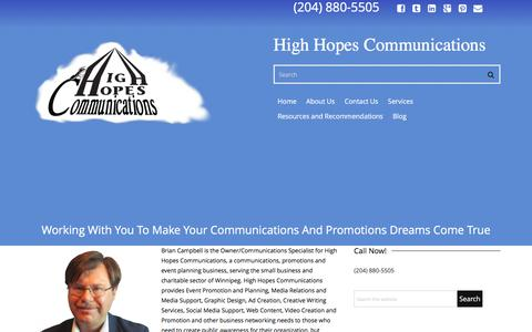 Screenshot of About Page highhopescommunications.ca - About Us | High Hopes Communications - captured Dec. 9, 2015