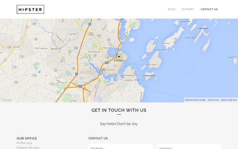 Screenshot of Contact Page hipster.io - Contact Us - Hipster - captured Oct. 2, 2014