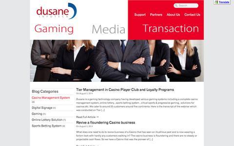 Screenshot of Blog dusaneinfotech.com - Casino Management System Archives - Dusane:Gaming Media Transaction Solutions - captured Nov. 3, 2014