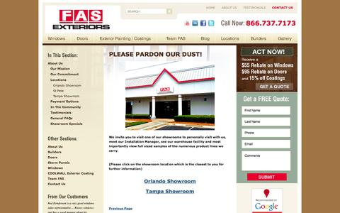 Screenshot of Locations Page faswd.com - New Replacement Windows and Doors - Orlando Tampa and Central Florida - FAS Windows and Doors - captured Oct. 5, 2014