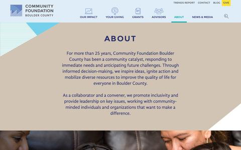 Screenshot of About Page commfound.org - About   The Community Foundation - captured Oct. 18, 2018